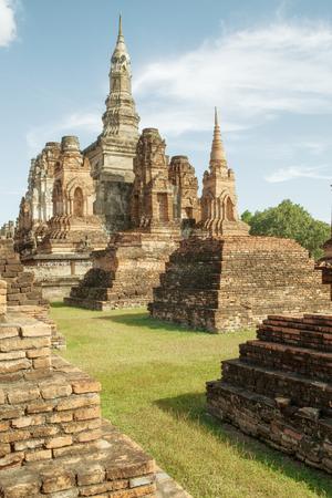 buddha statue: panorama view of ancient  wat  in Ayutthaya historical park, Thailand Stock Photo