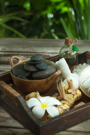 bathsalt: close up view of spa theme objects on color back Stock Photo