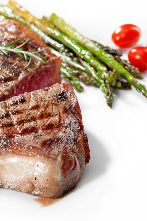 white yummy: close up view of nice yummy fresh steak on white back Stock Photo