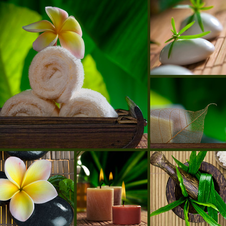 rejuvenate: Spa theme collage composed of a few different images Stock Photo
