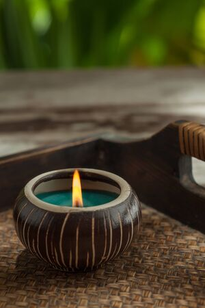 spa therapy: close up view of spa theme objects on color back Stock Photo