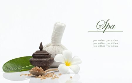 bathsalt: view of spa theme object on white background. Stock Photo