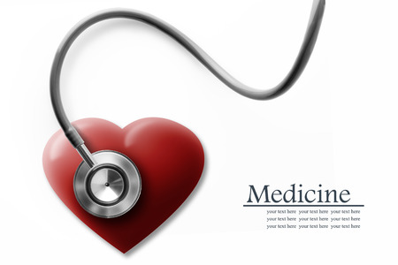 Close up view of grey stethoscope with heart on white back Stock Photo