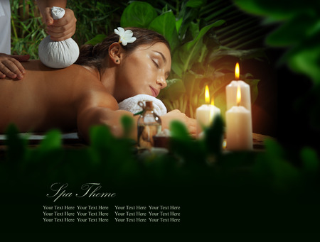 aroma: portrait of young beautiful woman in spa environment. Banner, extra space for your text Stock Photo