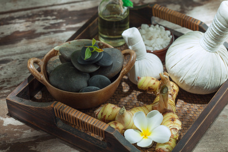 revitalize: close up view of spa theme objects on color back Stock Photo