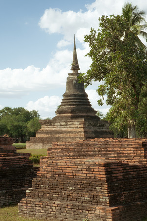 panorama view of ancient  pagoda  in Ayutthaya historical park, Thailand Stock Photo