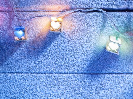 snowbound: close up view of  color lights on snowbound back