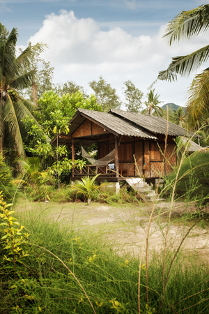 cerulean: View of nice bamboo hut in summer environment