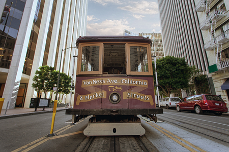view of historical cable car on famous van ness ave  in san francisco Editorial