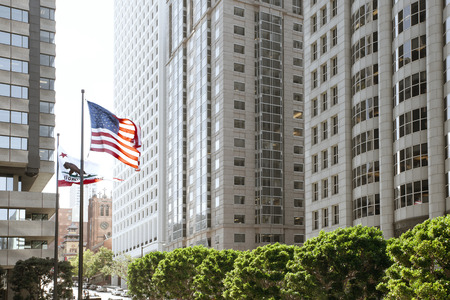 View of modern contemporary office city buildings in downtown san francisco Stock Photo