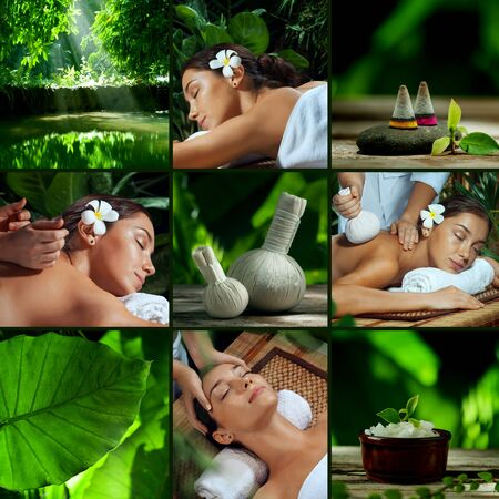 relaxation massage: spa theme collage composed of different images