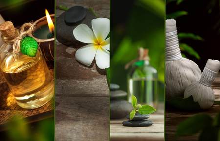 rejuvenate: spa theme collage composed of different images