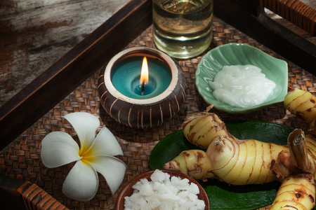 rejuvenate: close up view of spa theme objects on color back Stock Photo