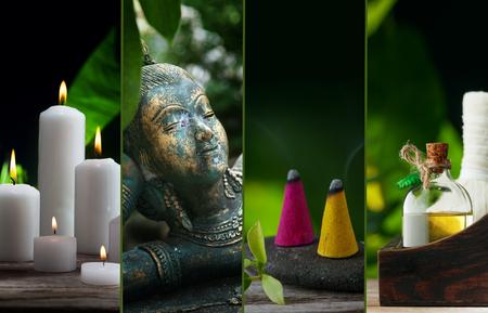 Collage del tema de spa compuesto de imágenes diferentes Foto de archivo - 84419816