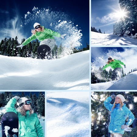 snowboarder theme collage composed of a few different images 版權商用圖片
