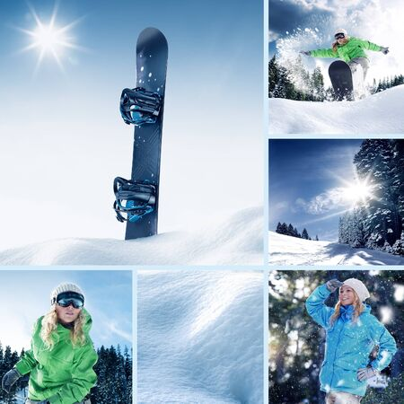 snowboarder theme collage composed of a few different images 写真素材