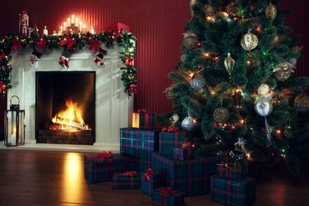 view of nice white christmas decorated fireplace  and christmas tree