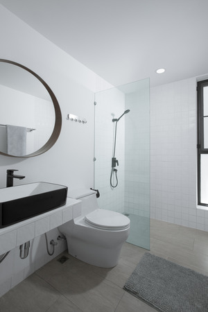 view of nice modern style grey  color bathroom  interior