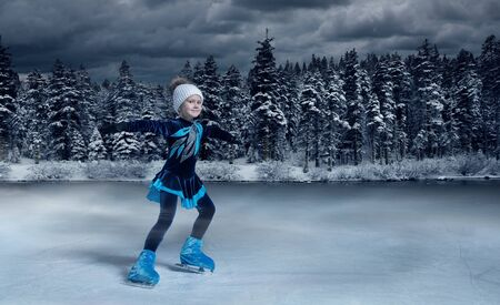 view of child  figure skater on winter lake  background