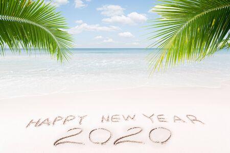 View of nice new year theme  tropical beach Фото со стока - 131493547