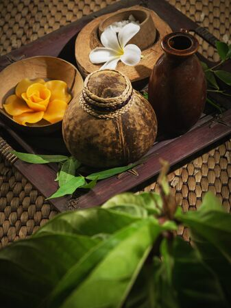 close up view of  massage spa theme objects on color background Stock Photo