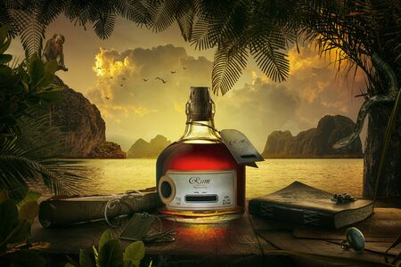 view of bottle of rum on sunset background.