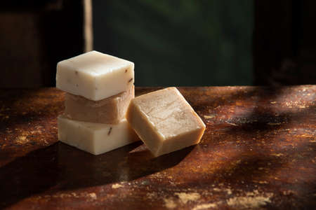 Close up view of few pieces of soap on natural background Stok Fotoğraf