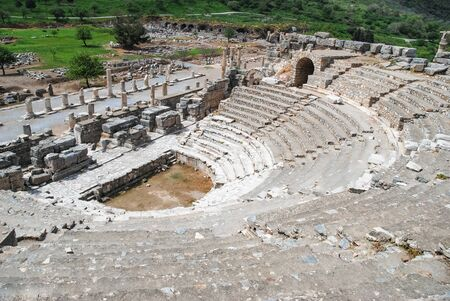 The Great Theater of Ephesus. the ancient site of Ephesus, Turkey. Top of theater view. Travel or Tourism.