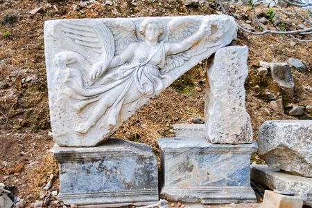 Marble Relief of Nike, the Goddess of Victory, at Ephesus, izmir, Turkey. Travel or Tourism.