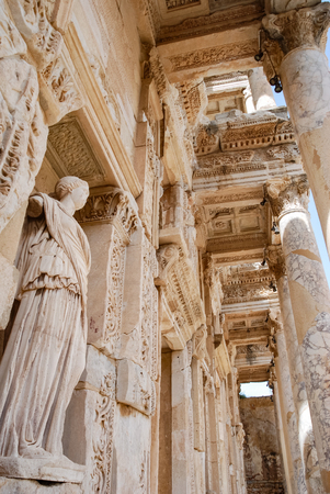 The statue of Sophia means Wisdom in the Celsus library, Ephesus, Turkey. Travel or Tourism.