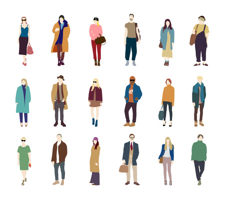 cleavage: People street fashion vector pack Illustration