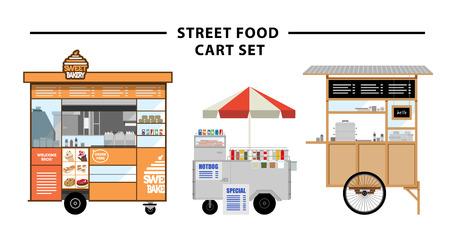 vendedor: Alimento de la calle carrito Ilustración conjunto