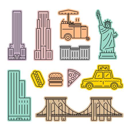 New York City icon set Illustration