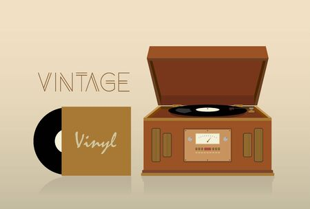 jukebox: Vintage record player illustration