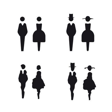 simbolo uomo donna: Segno Restroom vettore Vettoriali