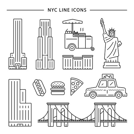 brooklyn: New York City icon vector set