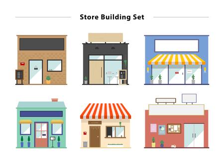 punto vendita: Conservare fronte set illustrazione vettoriale