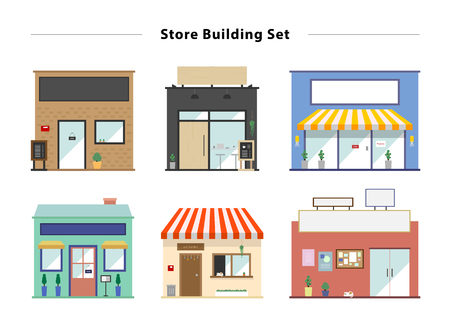store window: Store front vector illustration set