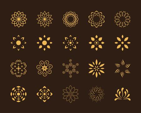Set of 20 abstract lotus vector symbols 일러스트