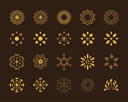 Set of 20 abstract lotus vector symbols Çizim