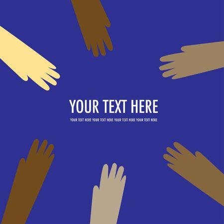 community support: Vector of international harmony hands