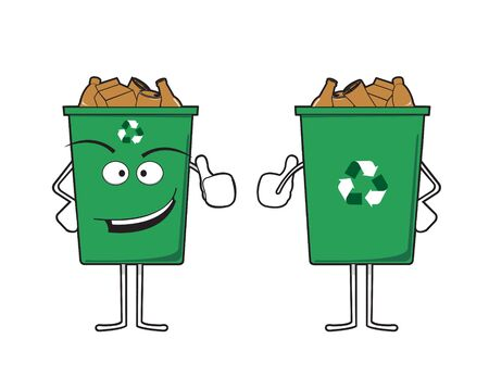 recycle bin: Vector illustration of recycle bin character Illustration