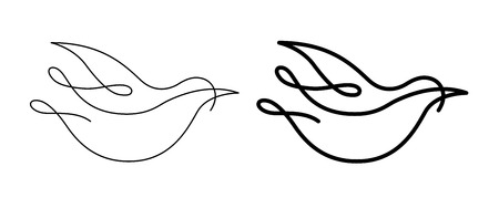 Vector line art bird shape