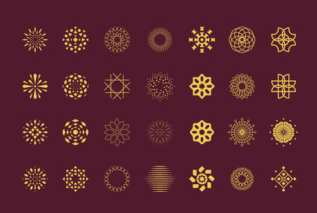 round dot: Set of abstract flower vector symbols