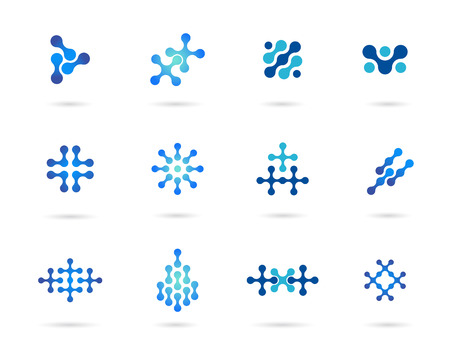 molecule background: Technology abstract vector symbol set