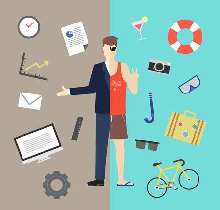 Work and life balance vector illustration Stock Illustratie