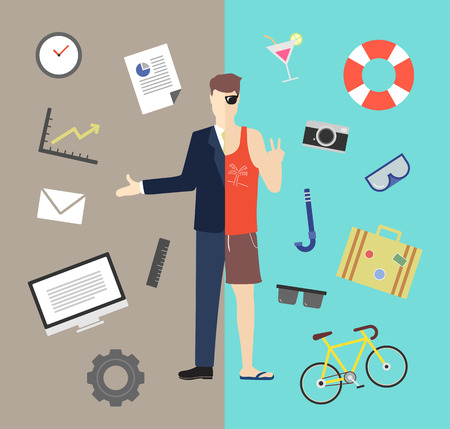 work on computer: Work and life balance vector illustration Illustration