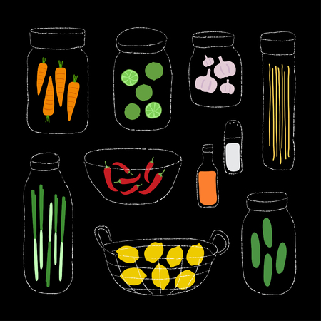A set of organic ingredients vector illustration