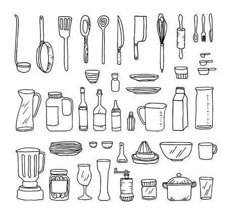 A set of kitchen objects vector line illustration