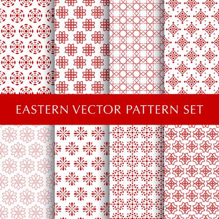 Set of eastern abstract symbol vector patterns Illustration